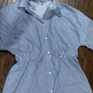 Charlotte Russe Dresses - Blue and white stripped collared dress